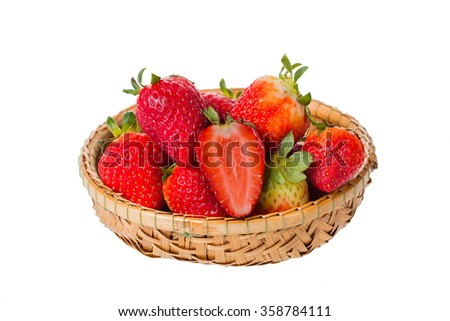 Strawberry in basket , isolated on a white background
