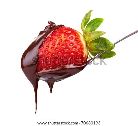 strawberry in chocolate - stock photo