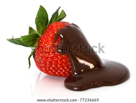 strawberry in chocolate over white background - stock photo