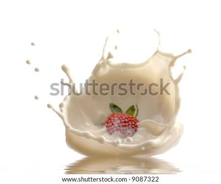 Strawberry in cream - stock photo