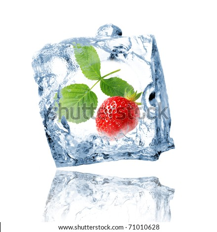 Strawberry in ice cube - stock photo