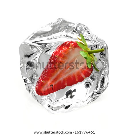 Strawberry in ice isolated on white background - stock photo