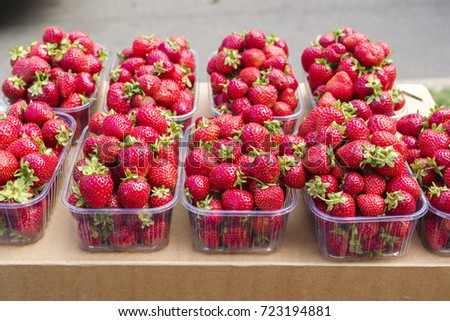 strawberry in plastic boxes