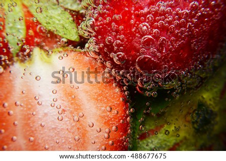 strawberry in soda bubble, strawberry, soda bubble