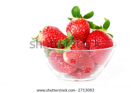 Strawberry in the bowl isolated