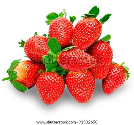 strawberry isolated on white background - stock photo