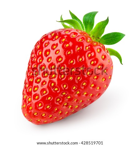 Strawberry isolated on white background. With clipping path. - stock photo