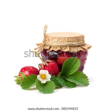 Strawberry jam and fresh berries isolated on white. - stock photo