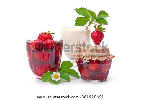 Strawberry jam and strawberries with cream isolated on white. - stock photo