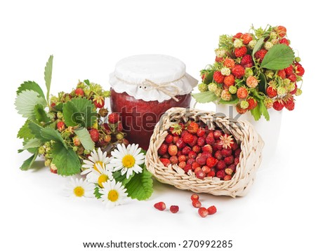 Strawberry jam in a glass , and  strawberries with green leaf isolated on a white background - stock photo