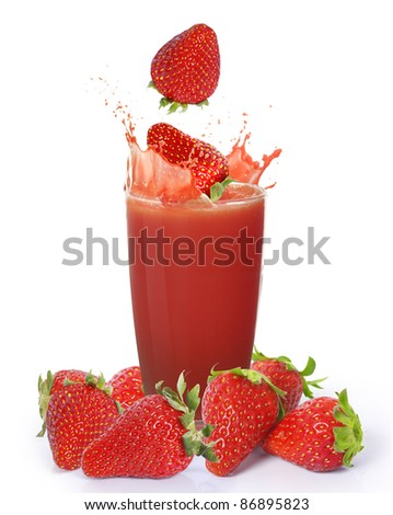 Strawberry juice - stock photo