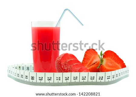 strawberry juice and meter on white background