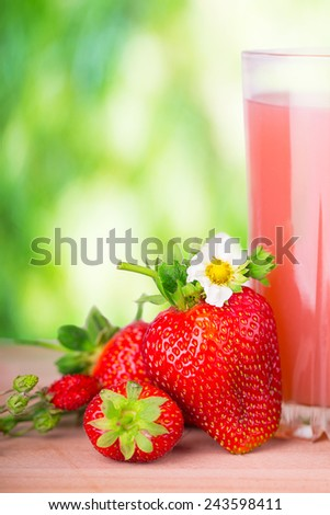 strawberry juice green background bokeh