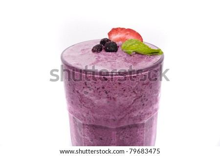 strawberry juice in decorated glass isolated - stock photo