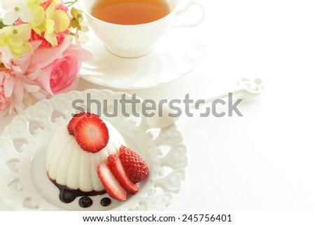 Strawberry Kanten Jelly and English tea - stock photo