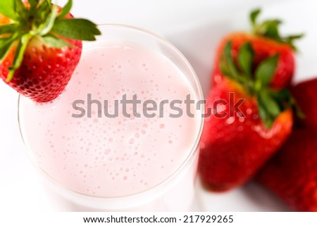 Strawberry kefir a cultured milk drink similar to yogurt. Rich with vitamins A & D and calcium.  - stock photo