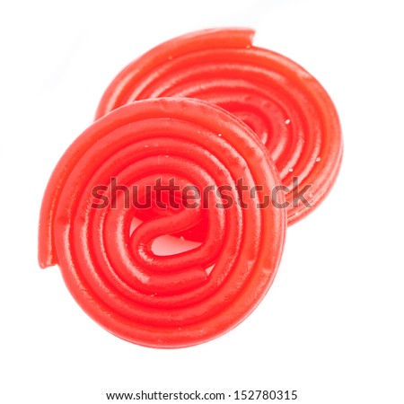 strawberry licorice isolated on a white background - stock photo