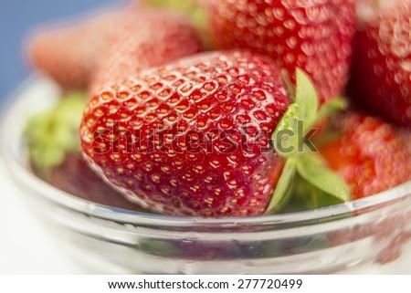 strawberry macro close up - stock photo