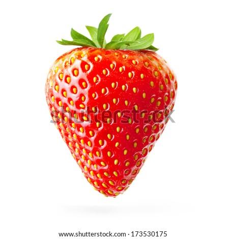 Strawberry macro isolated on white - stock photo