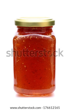 strawberry marmalade jam in glass jar isolated on white background - stock photo