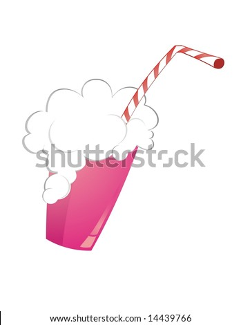 strawberry milk shake on white background