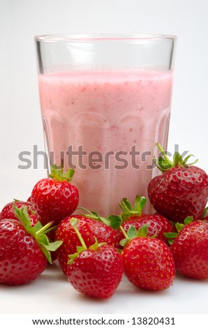 Strawberry milkshake - stock photo
