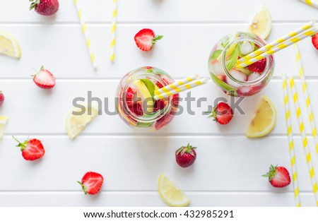strawberry mint and lemon. view from above - stock photo
