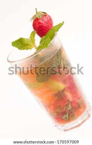 Strawberry Mojito isolated over white background  - stock photo