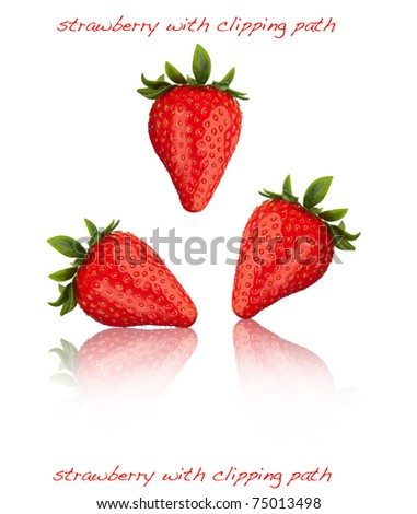 strawberry nice fresh and with clipping path - stock photo