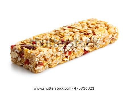Strawberry, oat and nut bar isolated on white.