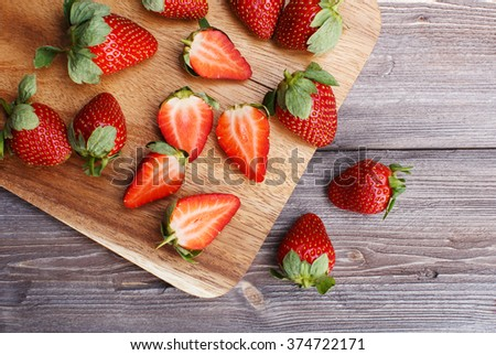 strawberry on the board - stock photo