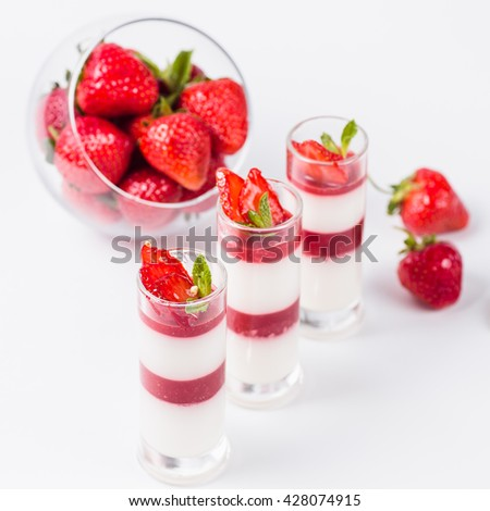 Strawberry Panna Cotta on a white background