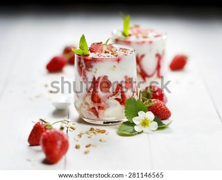 Strawberry parfait. Delicious dessert - stock photo