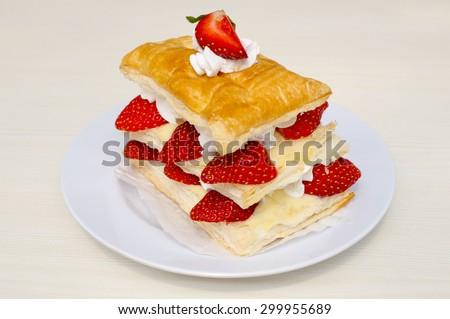 Strawberry pastry with vanilla cream - stock photo
