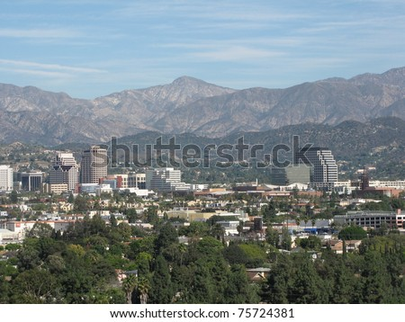 Strawberry Peak, San Gabriel Mountains and downtown Burbank from Griffith Park, Los Angeles, CA - stock photo