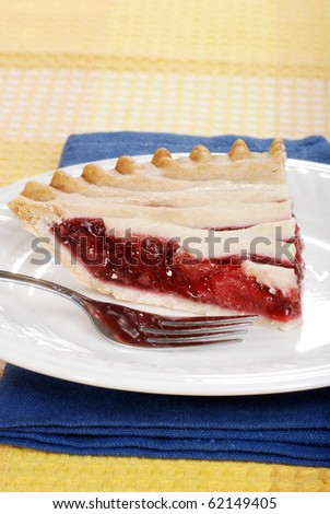 strawberry pie with a fork
