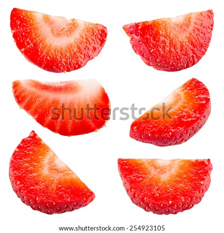 Strawberry. Piece and slice isolated. Collection. Clipping path - stock photo