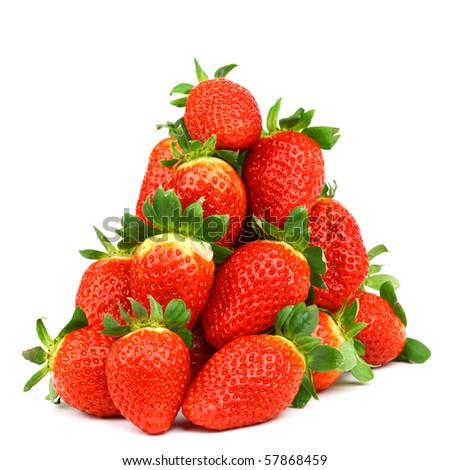 strawberry pile isolated on white background - stock photo