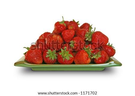 Strawberry plate - stock photo