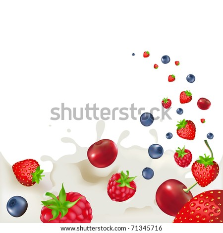 Strawberry, Raspberry, Bilberry And Cherry, Falling Into Splash Of Milk - stock photo