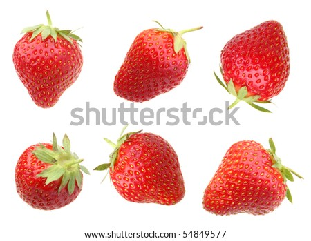 Strawberry red berry closeup on white background
