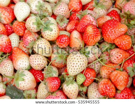 Strawberry red berry fruit are placed background