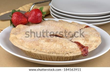 Strawberry rhubarb pie - stock photo