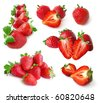 Strawberry set isolated on white - stock photo