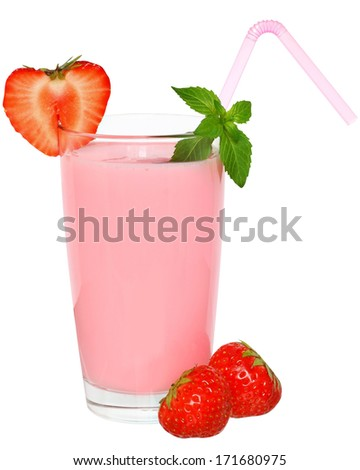 Strawberry Shake decorated leaf mint on a white background.