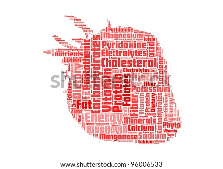 strawberry shape with info nutrition-text graphics and arrangement concept on white background (word cloud) - stock photo