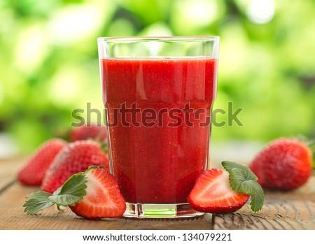 Strawberry smoothie - stock photo