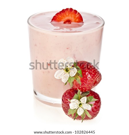Strawberry Smoothie - Fresh Berries with Yogurt  isolated on white background
