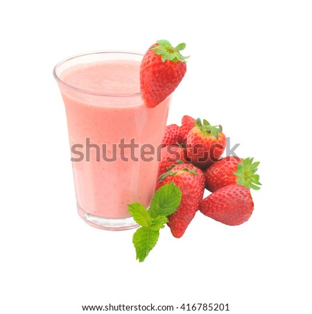 Strawberry smoothie isolated on  the white background