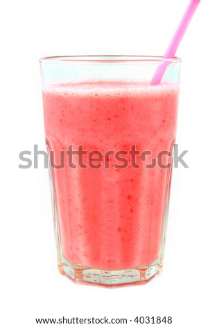 strawberry smoothie isolated on white